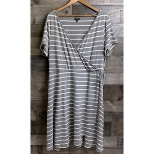 TORRID Gray & White Striped Faux Wrap SS Dress 3